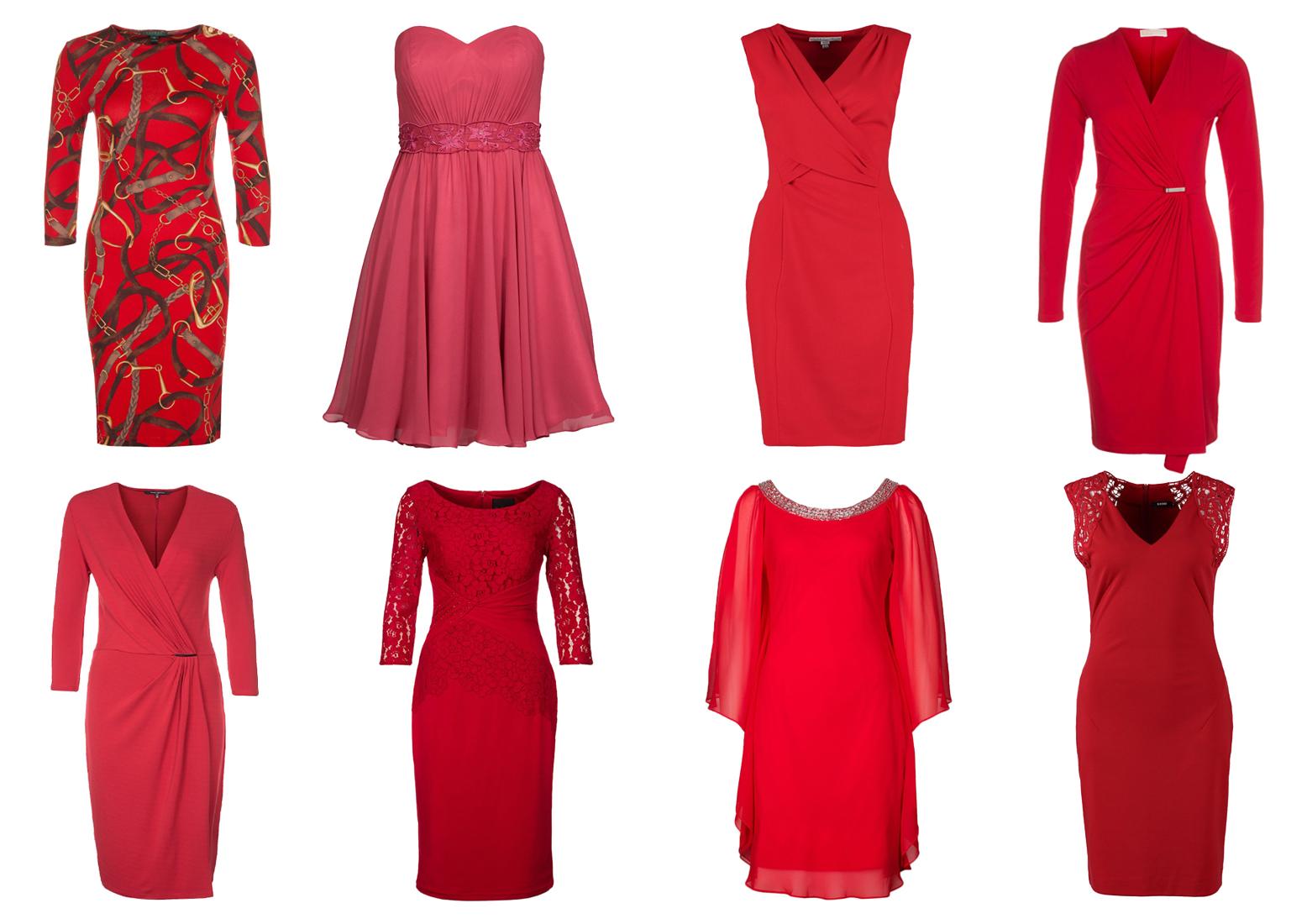 Osiem czerwonych sukienek